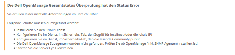 Dell OpenManage Anforderung
